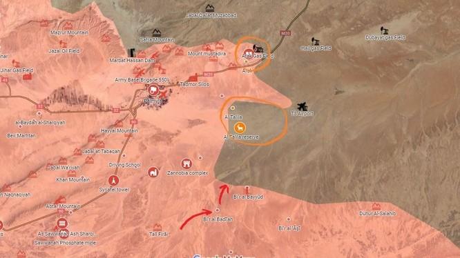 Bản đồ chiến dịch tấn công hướng Palmyra - Deir Ezzor, quân đội Syria đánh chiếm mỏ khí gas Arak