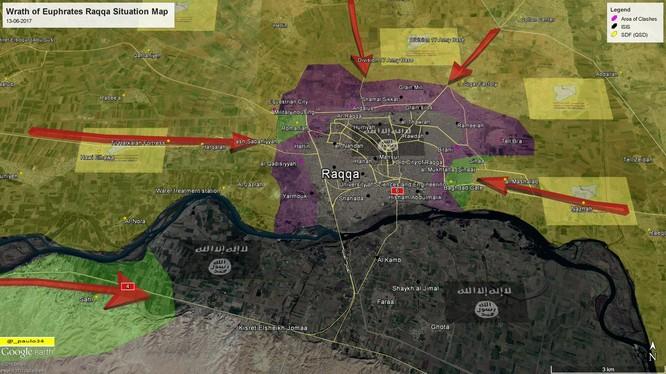 Các mũi tấn công chính của lực lượng SDF đánh vào thành phố Raqqa