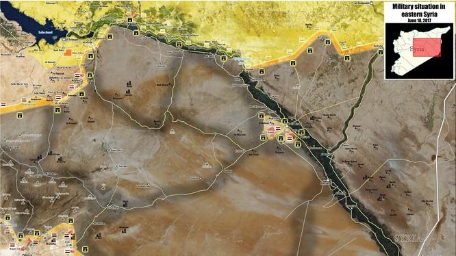 Hình thái chiến trường tỉnh Raqqa-Deir Ezzor tính đến ngày 18.06.2017