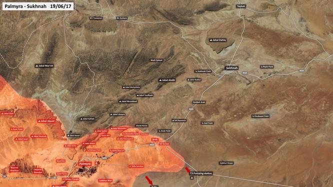 Bản đồ chiến sự phía đông Palmmyra, các đơn vị vũ trang Syria tấn công theo hướng trạm bơm T3 và Talila