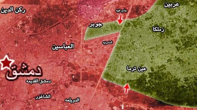 Các mũi tiến công của quân đội Syria đánh vào thị trấn Jobar và Đông Ghouta