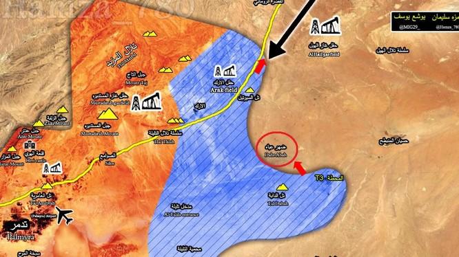 Khu vực chiến trường Tam giác Arak, trạm bơm T3 và khu mỏ dầu khí Al-Hail trên vùng sa mạc phía đông Palmyra