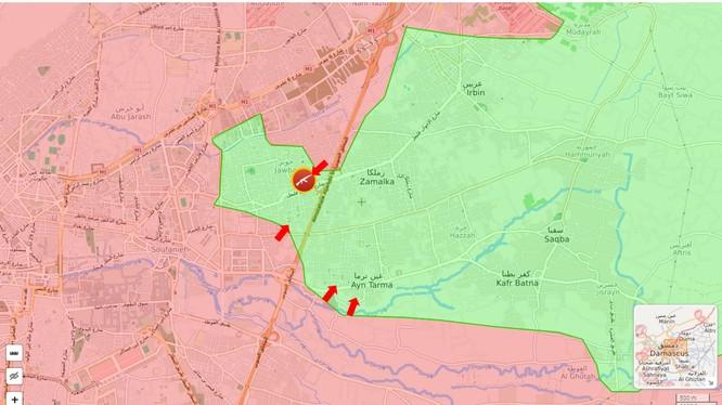 Các mũi tiến công của quân đội Syria vào vùng Đông Ghouta và Jobar