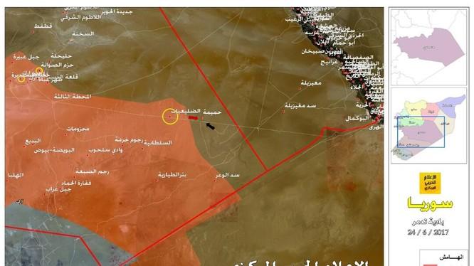 Khu vực giao chiến ác liệt giữa quân đội Syria và lực lượng khủng bố IS trên vùng sa mạc giữa Deir Ezzor và Homs