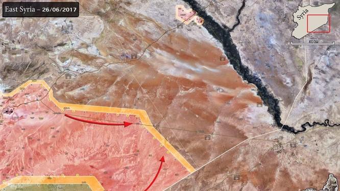 Các mũi tấn công của quân đội Syria trên chiến trường biên giới Iraq tiến về Deir Ezzor