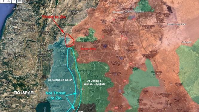 Bản đồ phân vùng lực lượng trên cao nguyên Golan, Syria