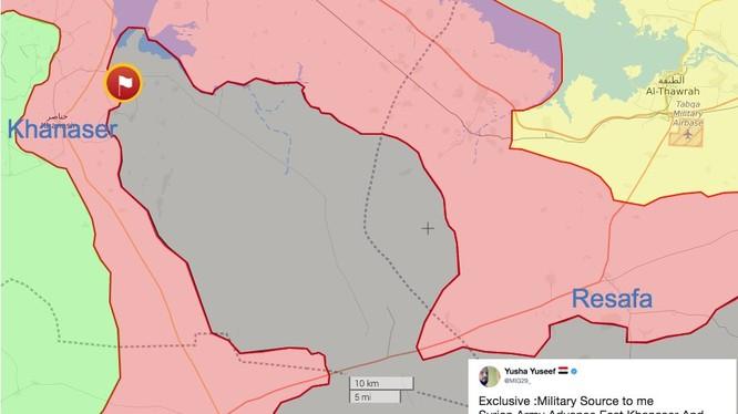 Vùng chiến trường phía đông tuyến đường huyết mạch Ethriyah - Khanasser đến Aleppo, khu vực đang bị IS chiếm đóng