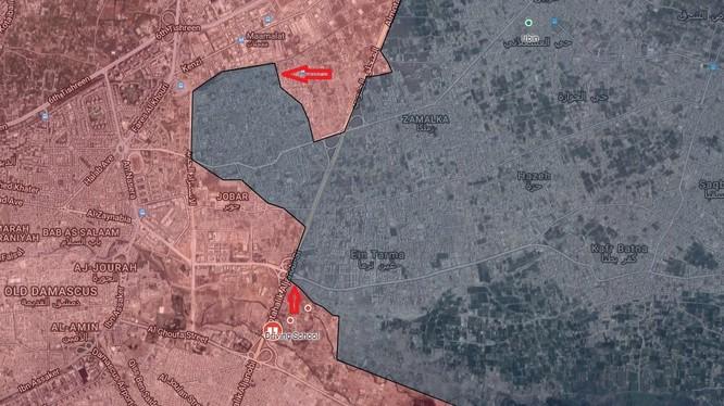 Các mũi tấn công của quân đội Syria đánh vào Jobar và Ayn Tarma, ngoại ô phía đông thủ đô Damascus