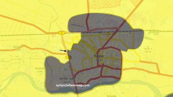 Bản đồ chiến trường Raqqa ngày 29.06.2017