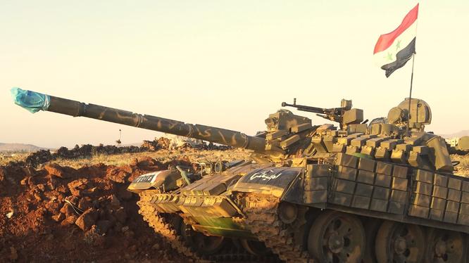 Xe tăng T-55MV quân đội Syria mới nâng cấp thiết bị ngắm bắn 1K13