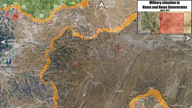 Toàn cảnh chiến trường vùng nông thôn phía đông tỉnh Hama
