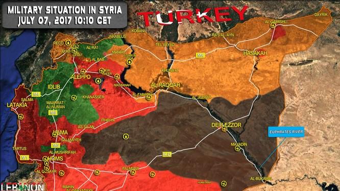 Bản đồ tình hình chiến sự Syria, tính đến ngày 07.07.2017