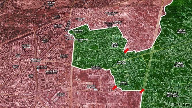 Các mũi tấn công của lực lượng Vệ binh Cộng hòa vào quận Jobar và thị trấn Ayn Tarma