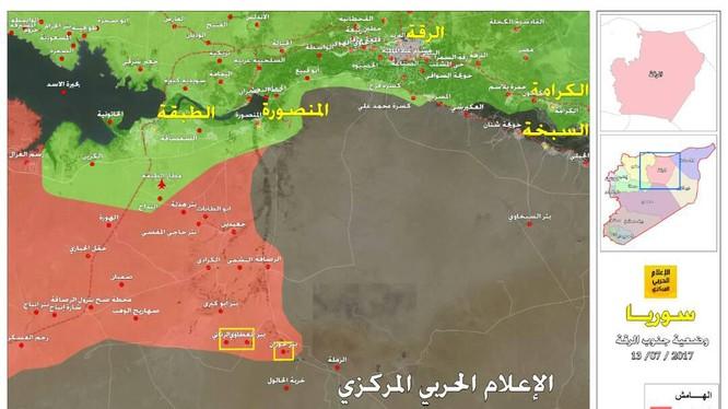 Bản đồ phía nam tỉnh Raqqa, lực lượng Tiger và chiến binh các bộ tộc tham gia tấn công tiêu diệt IS