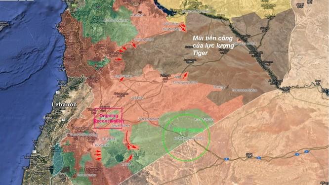 Các mũi tiễn công của quân đội Syria trên vùng IS còn tạm chiếm ở tỉnh Raqqa, Hama và Homs