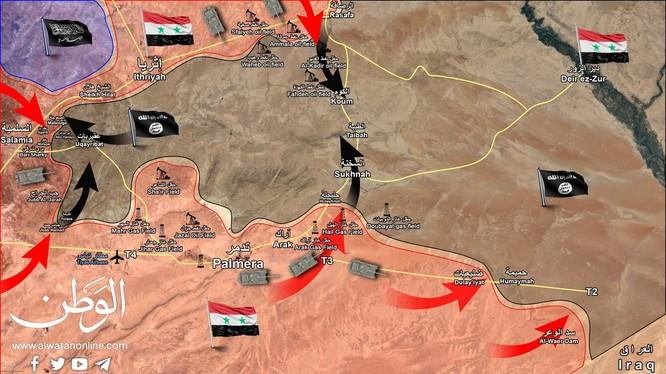 Các hướng tấn công của quân đội Syria trong cuộc chiến chống khủng bố