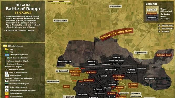 Tình hình chiến sự trong thành phố Raqqa, các mũi tiến công của SDF trên chiến trường