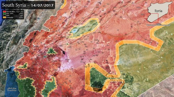Bản đồ chiến sự vùng sa mạc phía đông Damascus