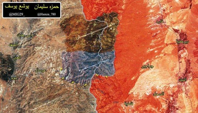 Bản độ chiến sự vùng rừng núi Faleeta trên biên giới Lebanon - Syria