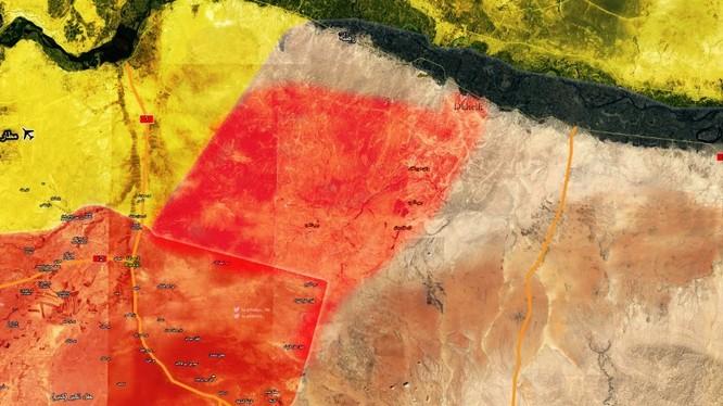 Bản đồ khu vực lực lượng Tiger giải phóng trên vùng nông thôn phía đông tỉnh Raqqa