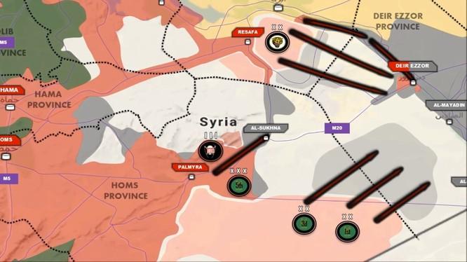 Các mũi tiến công chính của quân đội Syria trên chiến trường Homs - Raqqa
