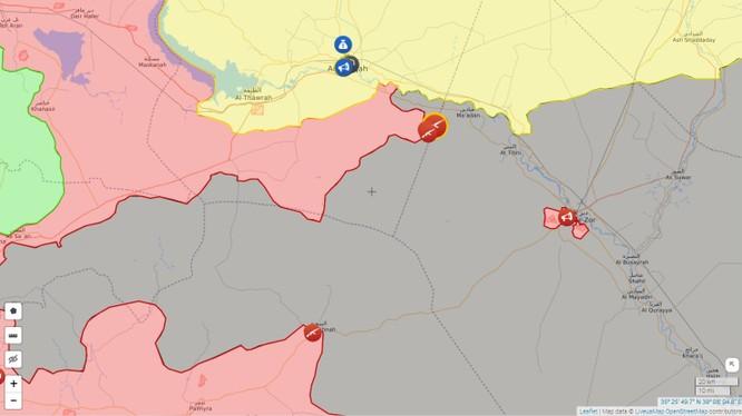 Bản đồ chiến dịch tấn công giải phóng tỉnh Deir Ezzor của quân đội Syria từ 2 hướng Palmyra và Raqqa