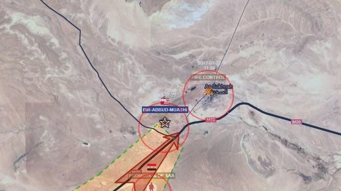 Mũi tiến công của quân đội Syria đánh vào thị trấn Sukhnah (đồ họa - Syria Today)
