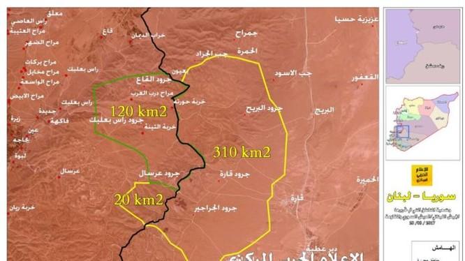 Toàn bộ vùng giải phóng của quân đội Syria, Hezbollah và quân đội Lebanon trên vùng biên giới Syria - Lebanon