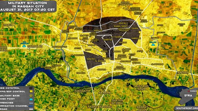 Lực lượng dân quân người Kurd bao vây một nhóm chiến binh IS ở Raqqa - bản đồ South Front