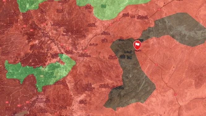 Bản đồ chiến sự khu vực vòng vây thị trấn Uqayribat trên vùng bán sa mạc miền đông Hama. Vị trí cờ là thị trấn Uqayribat - bản đồ Masdar News.