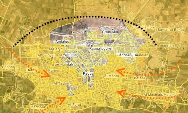 Các mũi tiến công của lực lượng SDF đánh vào thành phố Raqqa - bản đồ truyền thông người Kurd