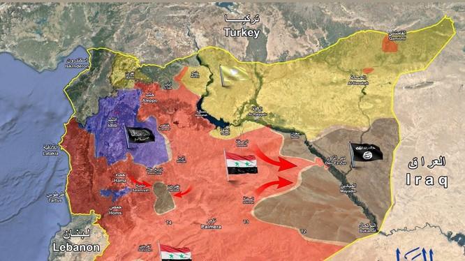 Các mũi tiến công của quân đội Syria vào khu vực thành phố Deir Ezzor - ảnh Masdar News