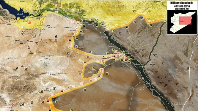 Bản đồ tình hình chiến sự Deir Ezzor tính đến ngày 05.09.2017 - ảnh Masdar News