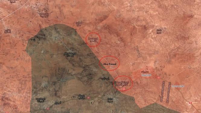 Những địa bàn quân đội Syria vừa giải phóng trên vùng nông thôn phía đông thành phố Al-Salamiyah - ảnh South Front