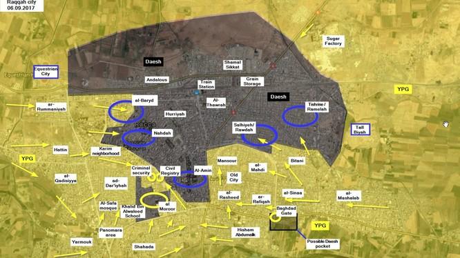 Bản đồ chiến sự Raqqa, vòng tròn xanh là khu vực đang có chiến sự - ảnh truyền thông YPG