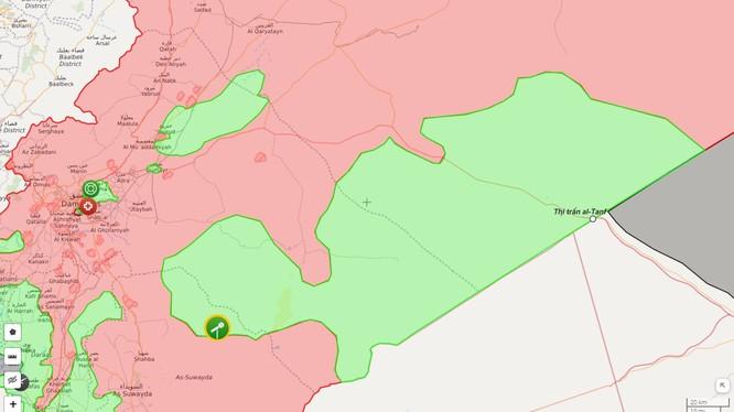 Vùng do lực lượng Hồi giáo cực đoan thuộc tổ chức quân đội Syria tự do FSA kiểm soát - ảnh syria.liveaumap.com
