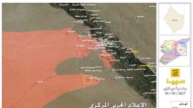 Bản đồ tình hình chiến sự Syria - quân đội Syria đột phá thành công vòng vây sân bay quân sự Deir Ezzor - ảnh truyền thông Hezbollah
