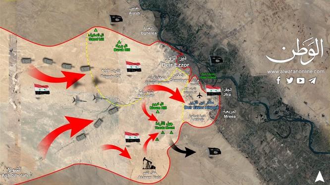Sơ đồ cuộc tiến công của quân đội Syria trên hướng phía bắc thành phố Deir Ezzor - ảnh Alwatanonline