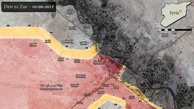 Bản đồ chiến sự chiến trường Deir Ezzor tính đến ngày 10.09.2017 - ảnh South Front