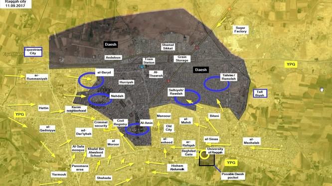 Bản đồ chiến sự tình hình thành phố Raqqa, vòng xanh là những khu vực đang diễn ra chiến sự - ảnh South Front