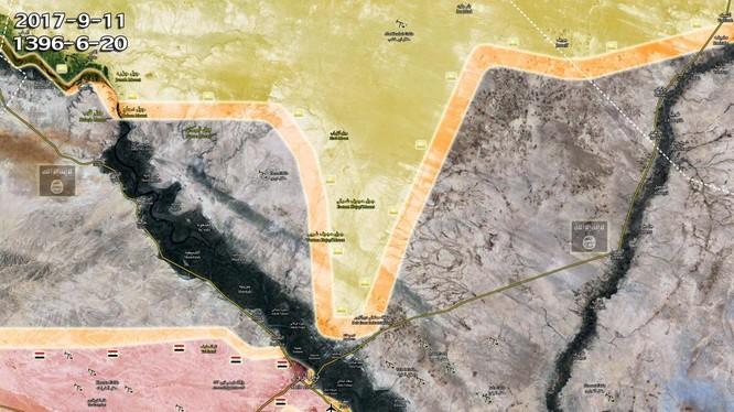 Bản đồ khu vực chiến sự vùng Deir Ezzor - lực lượng dân quân người Kurd tiến công vào ngoại ô thành phố sau chiến thắng của quân đội Syria