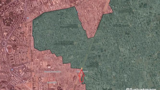 Chiến tuyến chiến trường Jobar và Ayn Tarma ngoại ô Damascus hầu như không thay đổi - ảnh Masdar News