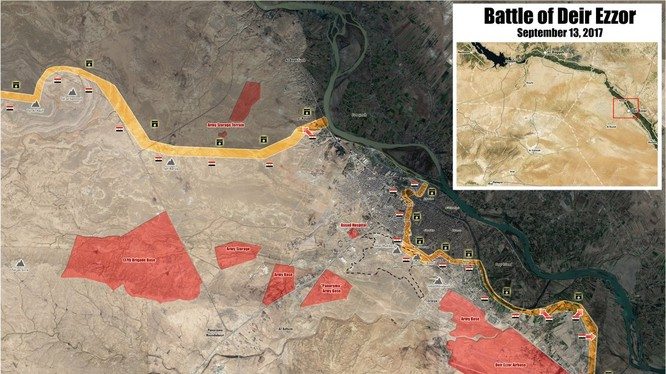 Bản đồ thành phố Deir Ezzor, hướng tiến công của quân đội Syria nhằm giải phóng thành phố và tiến đến bờ sông Euphrates - ảnh Masdar News
