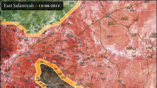 Bản đồ tình hình chiến sự tỉnh Homs - Hama, vùng IS bị bao vây đang thu hẹp nhanh chóng - ảnh South Front