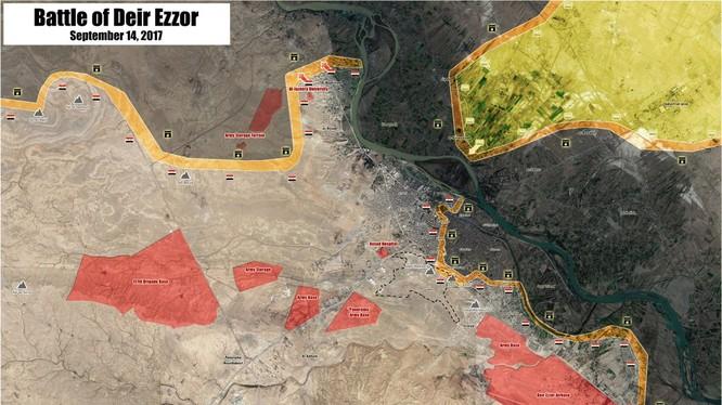 Bản đồ tình hình chiến sự Deir Ezzor tình đến ngày 14.09.2017 - ảnh South Front
