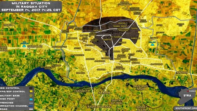 Bản đồ tình hình chiến sự thành phố Raqqa, IS cũng quyết định tử chiến đến tay súng cuối cùng - ảnh South Front
