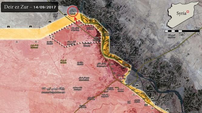 Bản đồ chiến sự thành phố Deir Ezzor, quân đội Syria tiến công trên cả 3 hướng tây, đông và đông nam thành phố. Ảnh South Front