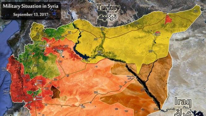 Bản đồ toàn cảnh các lực lượng đối kháng trên chiến trường Syria tính đến ngày 15.09.2017 theo South Front