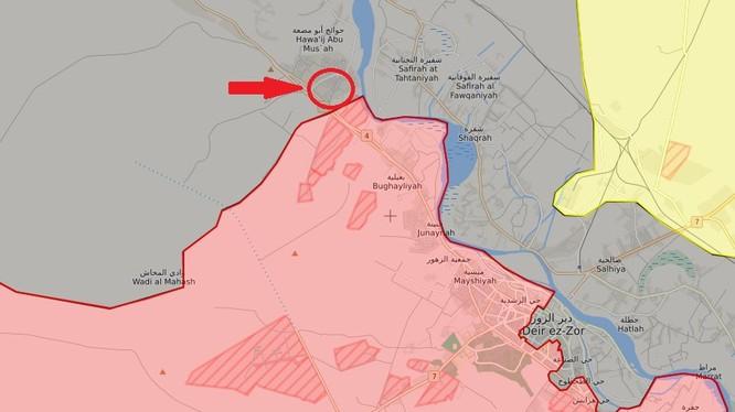 Thị trấn tiền tiêu chiến lược Ayyash phía bắc Deir Ezzor vừa giải phóng - ảnh syria.liveuamap.com