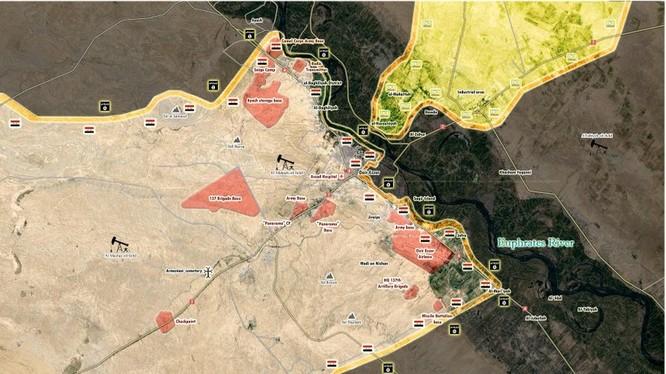 Chiến tuyến của quân đội Syria và Lực lượng Dân chủ Syria trên chiến trường Deir Ezzor - ảnh Masdar News